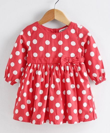 Babyoye Cotton Peasant Sleeves Polka Dot Frock Bow Applique - Red