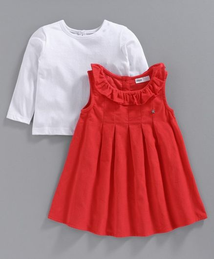 Babyoye  Cotton Ruffled Frocks with Full Sleeves Inner Tee - Red White