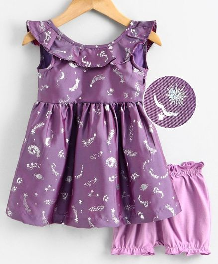 Babyoye Poly Blend Frock with Bloomer Star Print - Purple