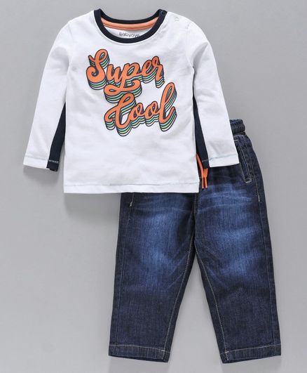 Babyoye Full Sleeves Tee And Drawstring Jeans Super Cool Print - White