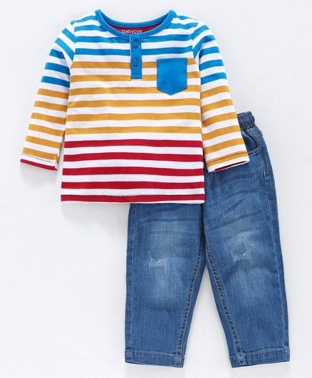 Babyoye Cotton Striped Tee with Jeans - Blue