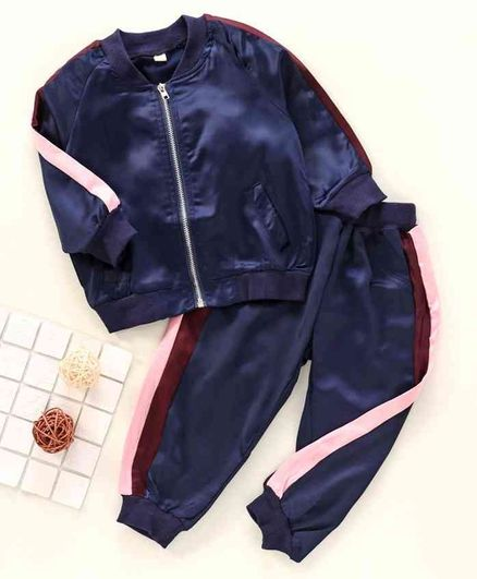 Kookie Kids Full Sleeves Jacket with Lounge Pant - Navy Blue