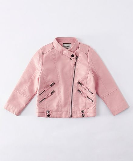 Babyhug Full Sleeves Leather Jacket - Pink