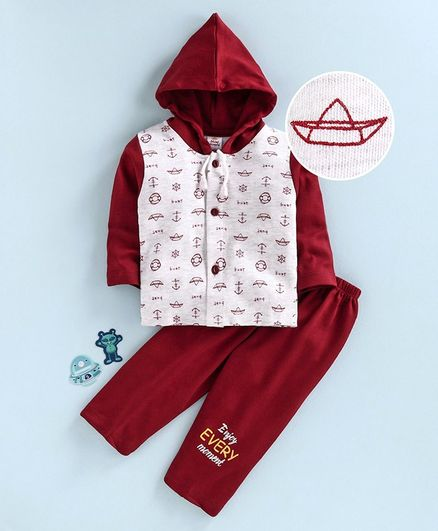 Mini Donuts Full Sleeves Hooded Shirt & Lounge Pant Boat Print - Grey Red