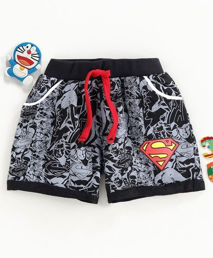 Disney by Babyhug Shorts Superman Print - Black