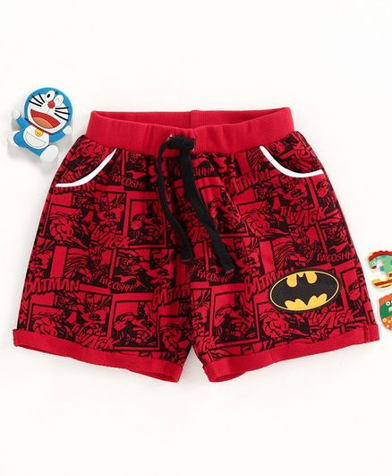 Disney by Babyhug Shorts Batman Print - Red