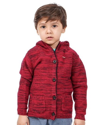 Babyoye Full Sleeves Hooded Cotton Sweater with Bear Patch - Maroon