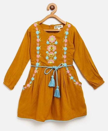 Bella Moda Full Sleeves Flower Embroidered Dress - Yellow