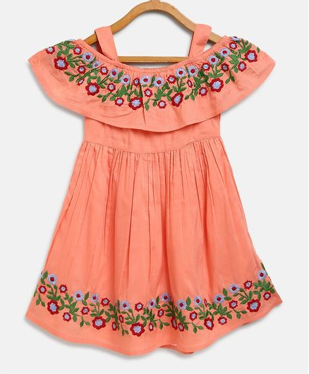 Bella Moda Flower Hand Embroidery Short Sleeves Off Shoulder Dress - Peach