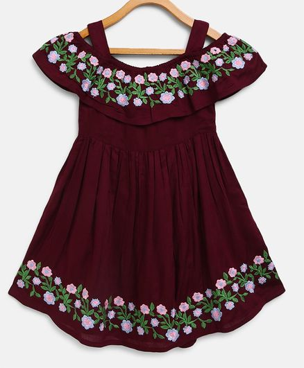 Bella Moda Flower Hand Embroidery Short Sleeves Off Shoulder Dress - Violet