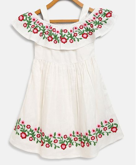 Bella Moda Flower Hand Embroidery Short Sleeves Off Shoulder Dress - White
