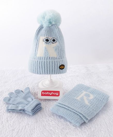 Babyhug Woollen Cap & Gloves With Muffler Alphabet R Design Blue - Diameter 12 cm