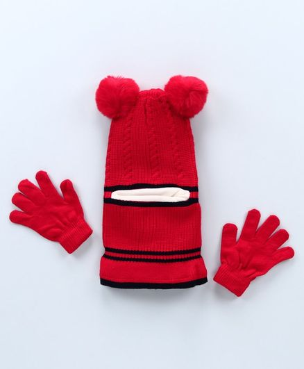 Babyhug Woolen Cap with Gloves Red - Diameter 16 cm