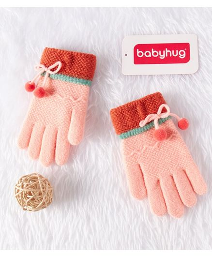 Babyhug Woolen Gloves - Peach