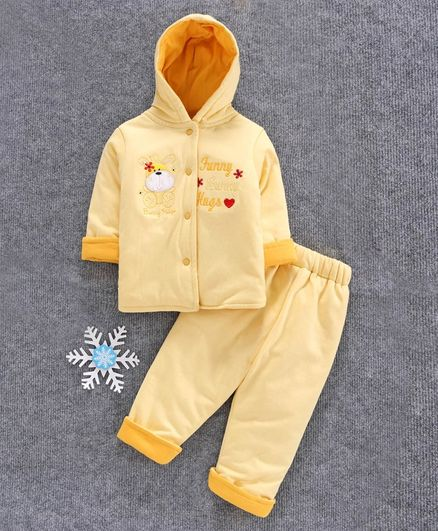 Cucumber Full Sleeves Winter Wear Hooded Jacket with Bottom Bunny Patch - Yellow