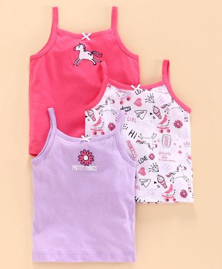 Babyoye Cotton Singlet Camisole Pack of 3 - Purple Pink