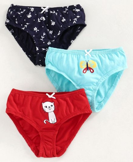 Babyoye Cotton Panties Multi Print Set of 3 - Blue Red