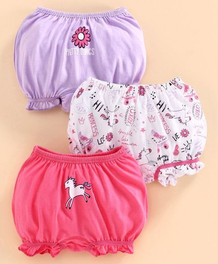 Babyoye Cotton Bloomer Unicorn Print Pack of 3 - White Purple Pink
