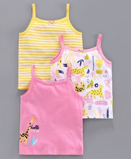 Babyoye Singlet Cotton Camisoles Stripes & Animal Print Set of 3 - Pink Yellow