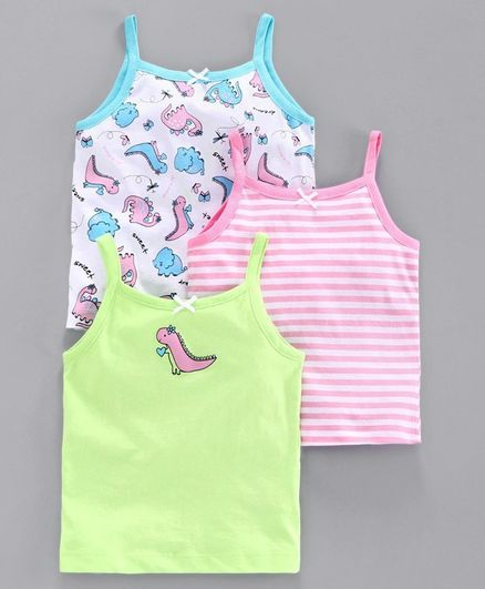 Babyoye Cotton Camisoles Stripes & Dino Print Set of 3 - Green Pink