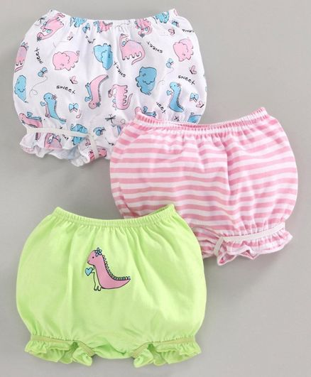 Babyoye Cotton Bloomers Striped & Dino Printed Set of 3 - Green Pink