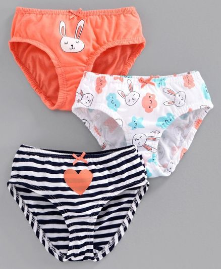 Babyoye Cotton Striped Panties Bunny Print Pack of 3 - Peach White Black