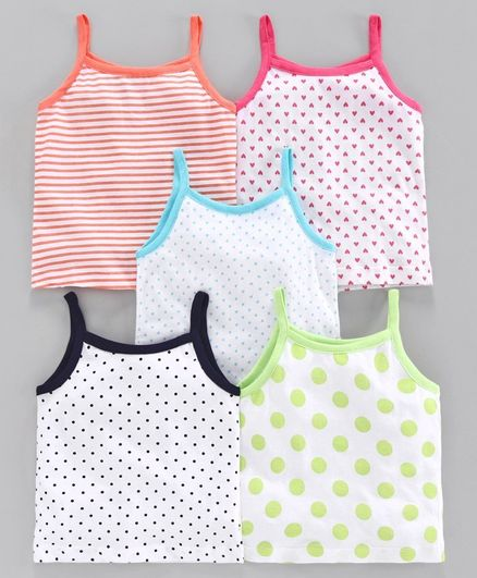 Babyoye Cotton Sleeveless Printed Slips Pack of 5 - White