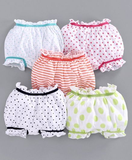 Babyoye Cotton Bloomers Striped & ladybug Print Pack of 5 - Red White