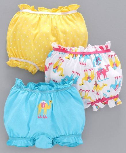 Babyoye Cotton Bloomers Camel & Dot Print Pack of 3 - Yellow Blue White
