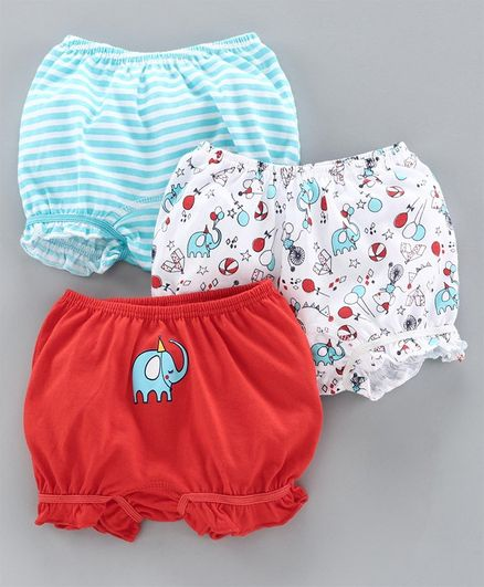 Babyoye Cotton Bloomer Pack of 3 - Red Blue White
