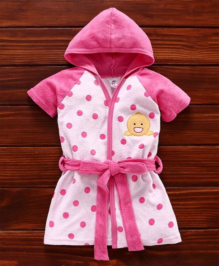 Pink Rabbit Half Sleeves Hooded Polka Dot Bath Robe Duck Embroidery - Pink