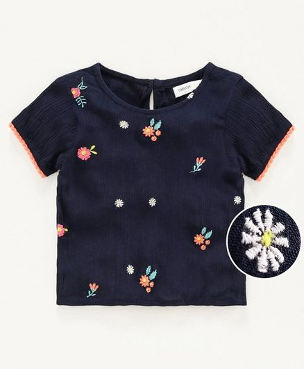Babyoye Cotton Short Sleeves Top Floral Embroidery - Navy Blue