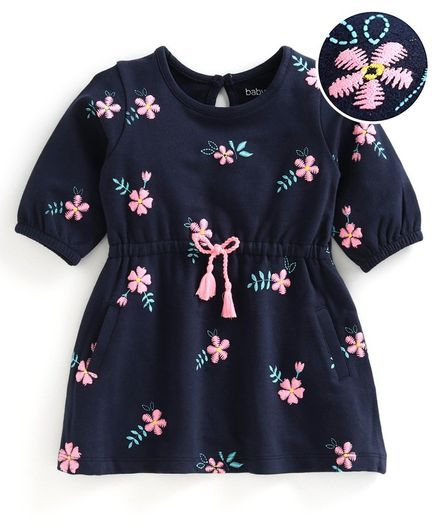 Babyoye Half Sleeves Cotton Mixes Frock Floral Embroidered - Navy