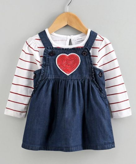 Babyoye Denim Dungaree style Frock with Cotton Stripe Tee Heart Patch - White Blue