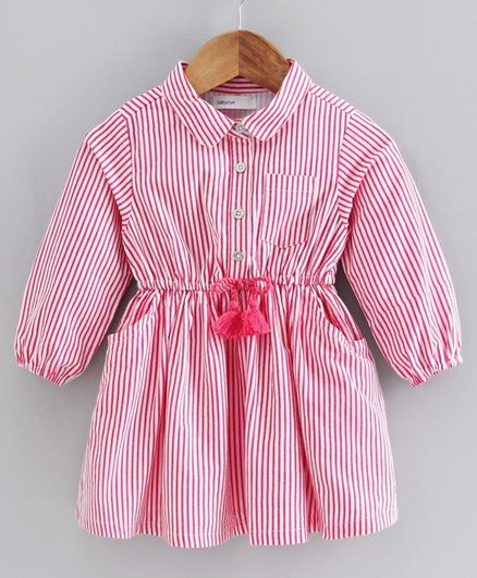 Babyoye Cotton Full Sleeves Striped Frock - Pink