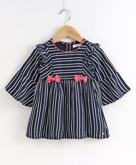 Babyoye Cotton Full Sleeves Striped Frock - Navy Blue