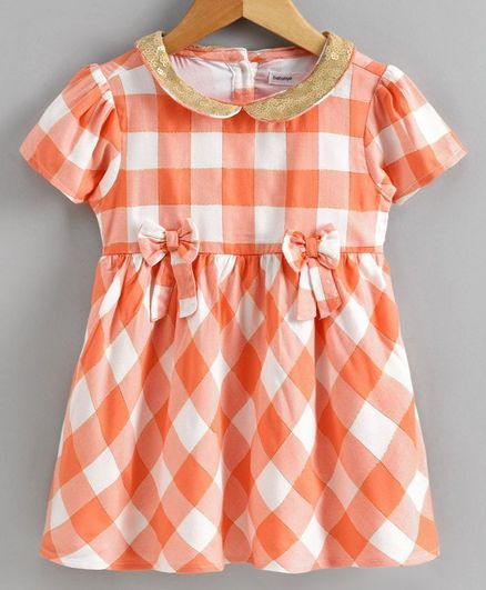 Babyoye Half Sleeves Cotton Lurex Checked Frock - Peach
