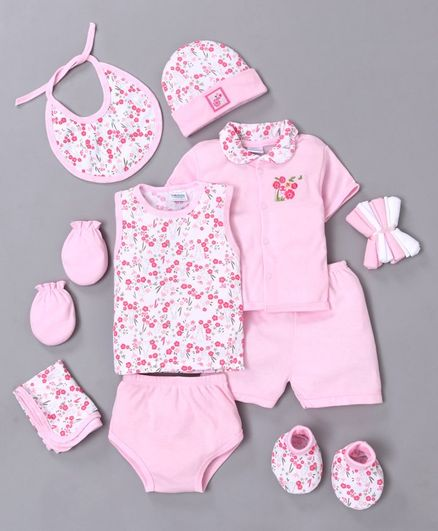 Montaly Cotton Printed Baby Clothing Gift Set Set of 10 - Pink