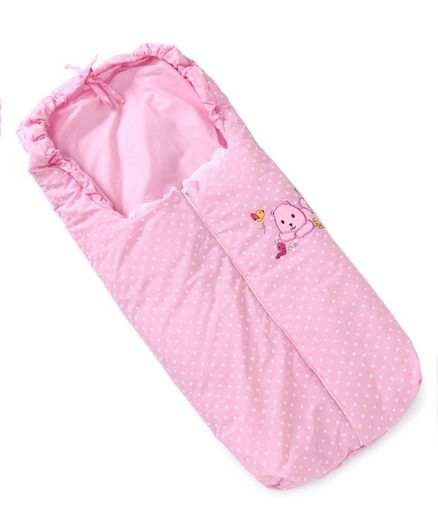 Sleeping Bag Bear Embroidery - Pink