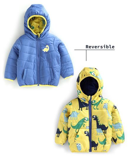 Babyoye Hooded Polyester Reversible Jacket Dino Print - Yellow Blue
