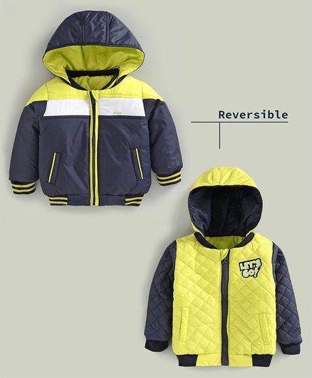 Babyoye Full Sleeves Reversible Hooded Bomber Jacket - Navy Blue Yellow