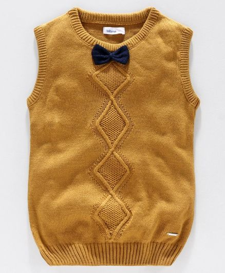 Babyoye Acrylic Sleeveless Sweater Bow Applique - Yellow