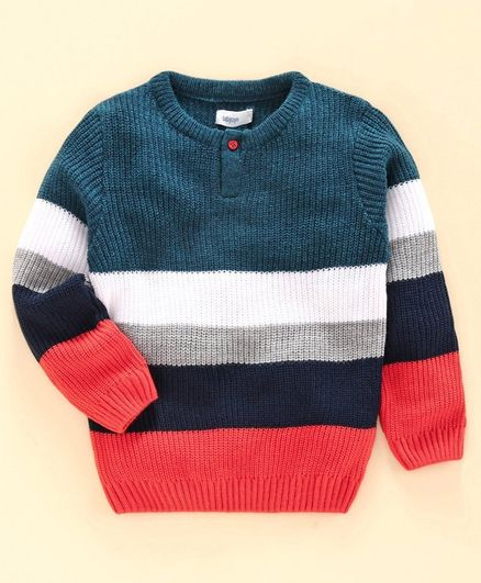 Babyoye Acrylic Full Sleeves Stripe Sweater - Multicolour