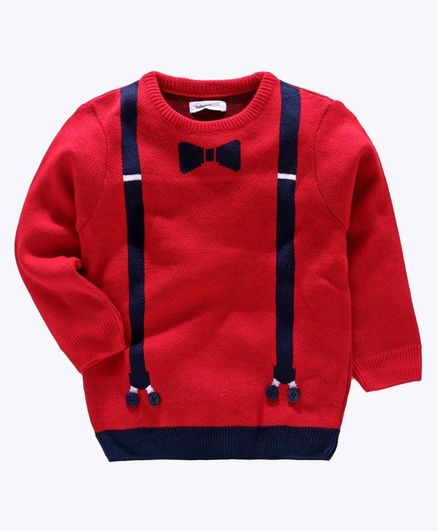 Babyoye Full Sleeves Suspender Design Sweater - Red