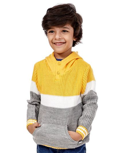Babyoye Acrylic Full Sleeves Striped Sweater - Yellow Grey
