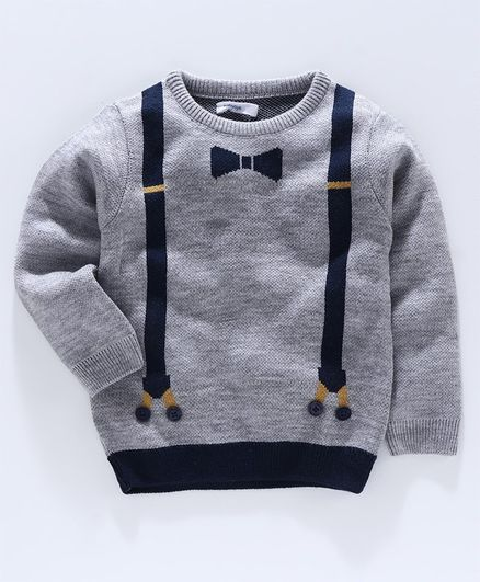 Babyoye Full Sleeves Sweater Bow & Suspender Design - Grey