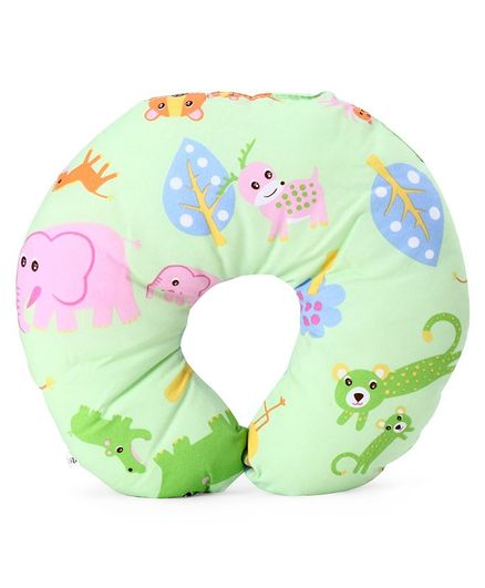 U Shaped Neck Support Pillow Animal Print - Green