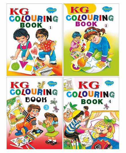 Sawan KG Colouring Books Part 1 to 4 Pack of 4 - English