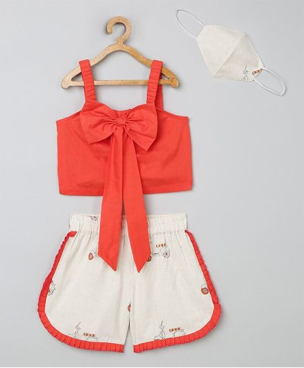 Tutus By Tutu Sleeveless Bow Detailed Top With Printed Shorts & Matching Mask - Coral & Yellow