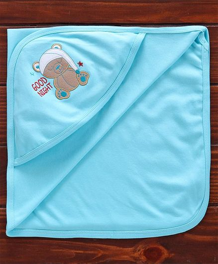 Simply Hooded Towel Bear Embroidered - Blue